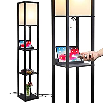Brightech Maxwell Shelf Floor Lamp W Wireless Charging