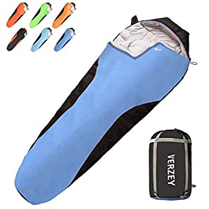VERZEY Mummy Envelope Camping Sleeping Bag, Great for 3 Season, Hiking Outdoor Activities Waterproof Lightweight Sleeping Bags for Adults, Youth,Teens ,Kids & Boys