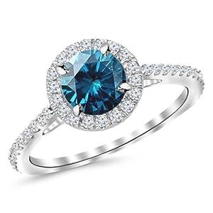 0.85 Carat 14K White Gold Gorgeous Cushion Halo Diamond Engagement Ring w/ 0.5 Carat Blue Diamond