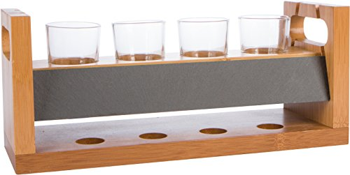 14 4 Glass Craft Beer Flight Tasting Set with Chalkboard by Trademark Innovations