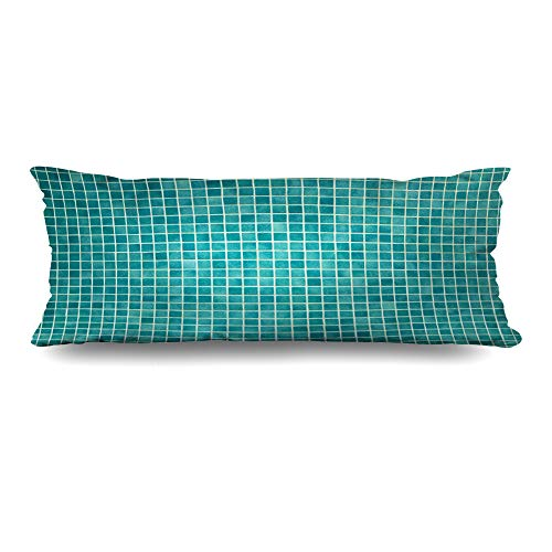 Ahawoso Body Pillows Cover 20x60 Inches Porcelain Green Wall Floor Mosaic Tiles Azure Cement Blue Pool Ceramic Swimming Color Design Pattern Decorative Zippered Pillow Case Home Decor Pillowcase
