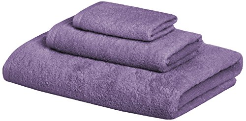 AmazonBasics 3 Piece Cotton Quick-Dry Bath Towel Set - Lavender