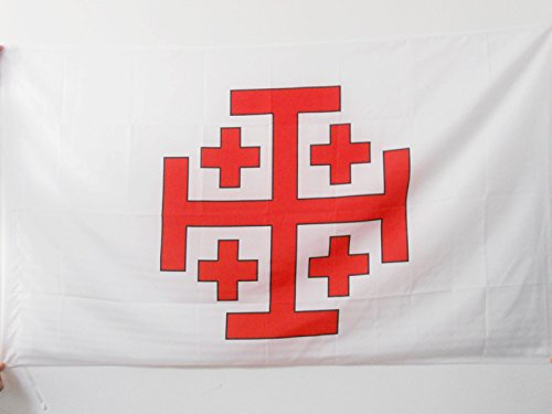 Jerusalem Flag - ORDER OF THE HOLY SEPULCHRE OF JERUSALEM FLAG 3' x 5' for a pole - CATHOLIC FLAGS 90 x 150 cm - BANNER 3x5 ft with hole - AZ FLAG