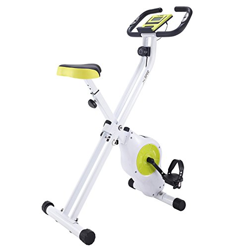 (Xspec Foldable Stationary Upright Exercise Bike Magnetic Cardio Workout Indoor Cycling, Lime Green, Monitor with Phone/Tablet Holder, Heart Rate Pulse Sensor)