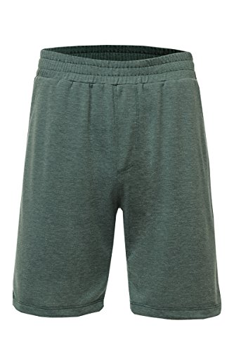 Neovic Mens Athleisure French Terry Knit Casual Solid Lounge Shorts w/Pockets - Olive - Large