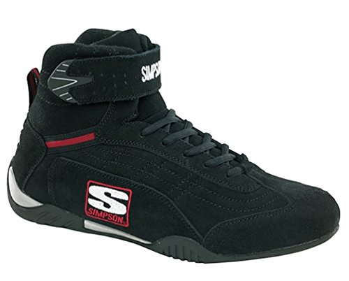 Simpson Racing AD110BK Adrenaline Black Size 11 SFI Approved Driving Shoes (Kart Racing Shoe)