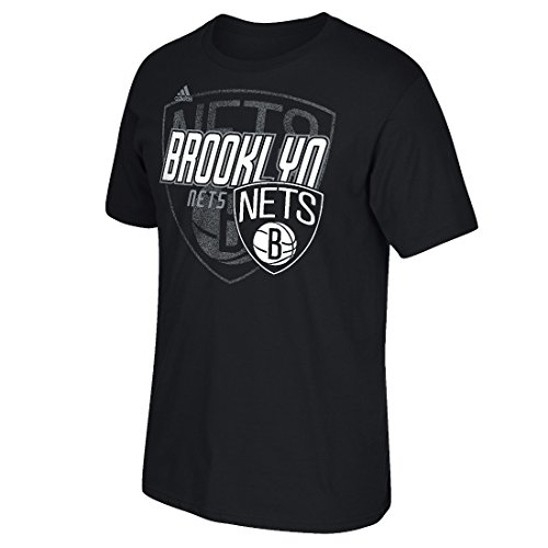 (adidas Brooklyn Nets NBA Distressed Back Logo Men's Short Sleeve T-Shirt)