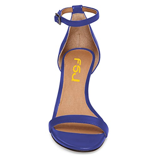 Strap 15 Party Women US Sandals Sexy Comfort FSJ Stiletto Cocktail Toe Ankle Size Shoes Blue Heels Open 4 z4Ztwqpn