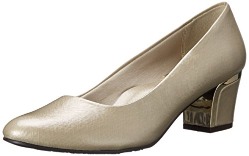 Womens Pumps Metal - Soft Style By Hush Puppies Women's Deanna Dress Pump, Bone Cross/Hatch Patent/Gold Heel, 11 M US