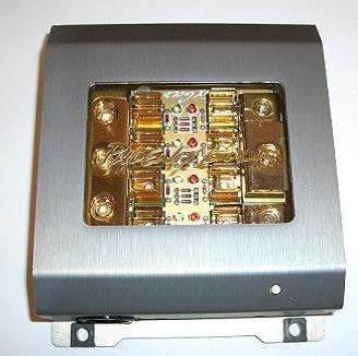 Phoenix Gold ZBB343TI, Fuse Distribution Block with Diagnostics, Titanium Series, 1 to 3, for AGU Fuses, input: 3 cables - 1 Gauge (50mm²), output: 1 cable - 1 Gauge (50mm²), 2 cables 8 Gauge (10mm²) up to 4 Gauge (25mm²), for 4 glass fuses, 4 x secured, gold-plated, titanium-colored