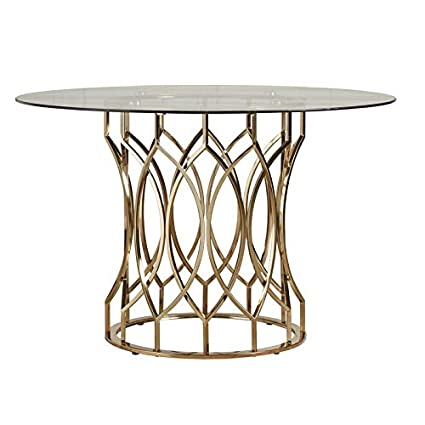 Metal Geometric Base Dining Table Dining