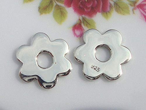 2 pcs, 12mm, Sterling Silver 6 Leaf Clover Flower Connector, Charm, Pendant, Earring Findings, High Polished