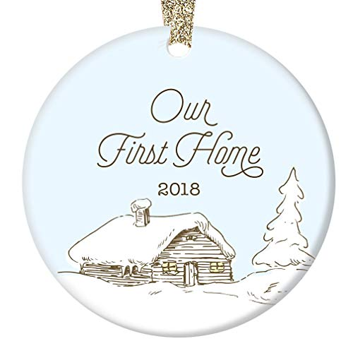 First New Home Christmas Ornament 2018 Cute Log Cabin Ceramic Holiday Keepsake Present 1stTime Homeowner House Real Estate Housewarming Gift 3