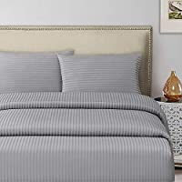 DEYARCO Hotel Linen Silver Double Fitted Sheet 1pc, Fabric: 250TC 100% Cotton Sateen 1 cm Stripe, Size: 1pc fitted sheet 150 x 200 + 30 cm, Luxury Feel Soft bedding, Color: Silver