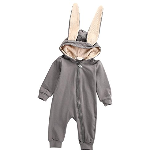 [Rabbit Ear Outfits, Misaky Newborn Baby Girl Boy Warm Romper Jumpsuit Clothes for 3M-3Years (3-6M, Gray)] (Elephant Ears Costume Pattern)