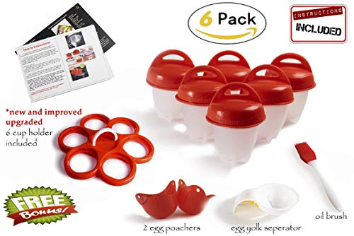 Egg cooker hard and soft silicone egg poachers, hard boiled eggs without shell egg cups AS SEEN ON TV (6 pieces) No shell plus bonus gift by Empeiro ()