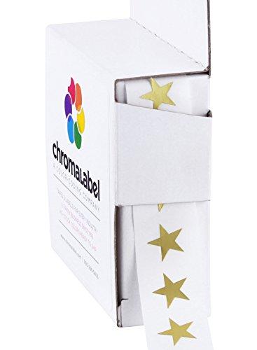 ChromaLabel 3/8 inch Color-Code Star Labels | 1,000/Dispenser Box (Metallic Gold)