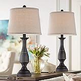 Ben Traditional Table Lamps Set of 2 Dark Bronze Metal Beige Linen Drum Shade for Living Room Family Bedroom Bedside - Regency Hill