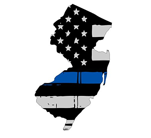 Blue Jersey Skating (New Jersey tattered thin blue line us flag honoring our men & women of law enforcement car symbol sticker decal die cut vinyl window computer - Made and Shipped in USA)