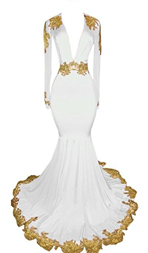 UGLY Women's Mermaid Deep-V-Neck Evening Dress Long Sleeves Evening Dresses with Gold Appliques UG012 Size 2 White