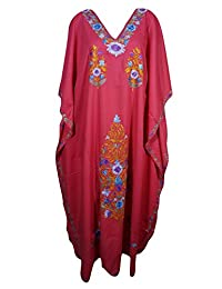 Mogul Womens Caftan Kashmiri Embroidered Kimono Housdedress Kaftan
