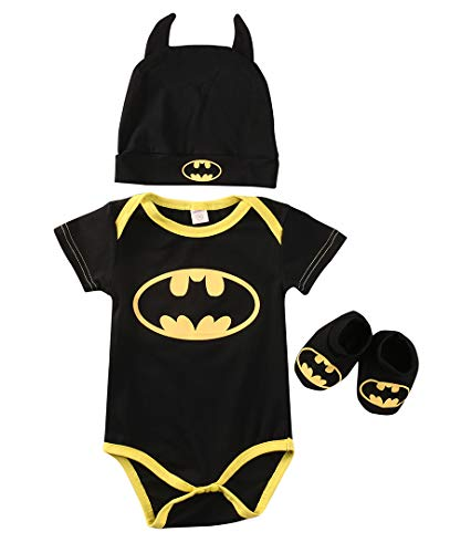 (Canis 3 Piece Set: Superhero Baby Onesie (0-6 Months, Batman:Short Sleeve))