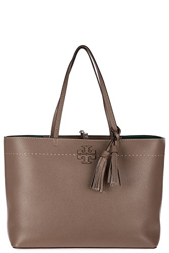 Tory Burch Pebbled Leather McGraw Tote (Silver - Bag Silver Burch Tory
