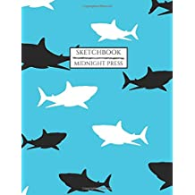 Sketchbook: Large Notebook/Journal with Blank Pages for Drawing Doodling and Sketching Blue with Black and White Sharks