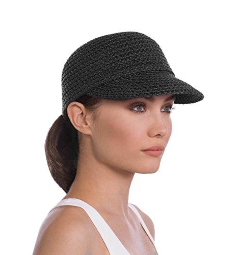 Mondo Head (Eric Javits Luxury Fashion Designer Women's Headwear Hat - Mondo Cap - Black, Medium/Large)