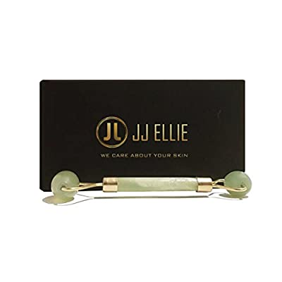 JJ ELLIE Premium Quality Jade Stone Roller, 100% Natural Jade, Anti Aging, Face and Neck Massage Skin Care - Rejuvenating Facial Therapy Tool, Double Head Rollers – Includes Instruction Guide