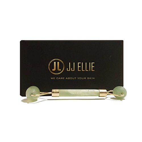 JJ ELLIE Premium Quality Jade Stone Roller, 100% Natural Jade, Anti Aging, Face and Neck Massage Skin Care - Rejuvenating Facial Therapy Tool, Double Head Rollers – Includes Instruction Guide (Gemstones Quality Premium)