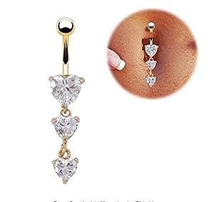 iDealhere 1 x Kristall Herz Button Langhantel Baumeln Bauchnabel Piercing (Gold)