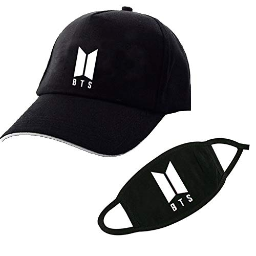 BTS Bangtan Boys Baseball Cap Sports Sun Hat with BTS Face Mask for Boys & Girls (Style -