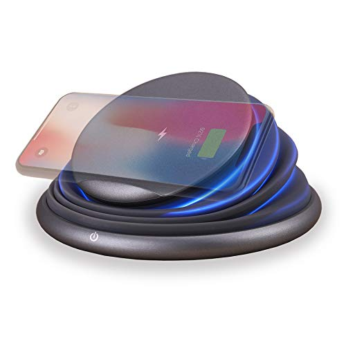 Foldable Wireless Charger, Fast Qi Wireless Charger Stand with Night Light Qi for iPhone Xs/X/8/8Plus, Samsung S9/S9Plus/Note8/S8/S8Plus/S7/S7/Note5