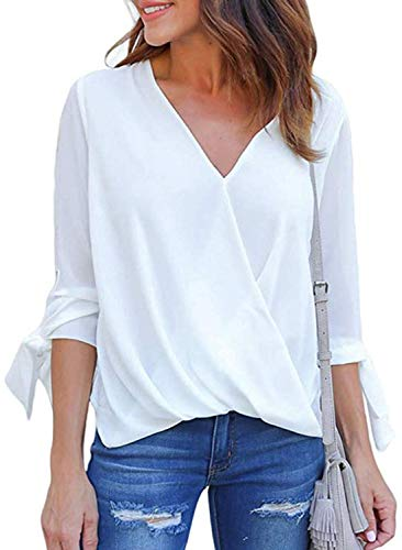 Women's V Neck Short Sleeve Blouse Tops Drape Wrap Front Casual Chiffon Shirts (Medium, 4-White)