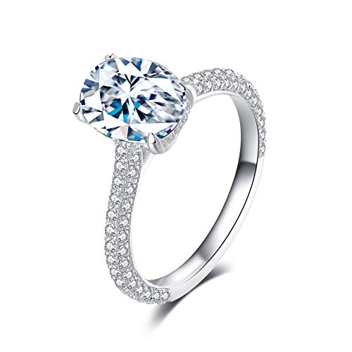 Erllo 2ct Cubic Zirconia Oval Frame Bridal Engagement Halo Ring Sterling Silver Anniversary Wedding Band (5)