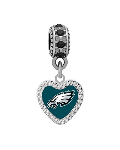 Philadelphia Eagles Rhinestone Heart Charm Fits European Style Large Hole Bead Bracelets Philadelphia Eagles Charm