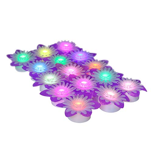 Horeset 15 pcs Daisy Shape Colorful Flickering LED Tea Lights Flameless Candle,Last up to 48-60hours 1.4 x 1.0-Inch for Wedding, Birthday, Home ()