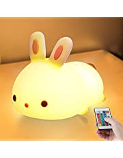 Night Light for Kids Cute Bunny Nightlight, Rimposky Silicone LED Touch Night Lamp for Baby Nursery, Rechargeable Animal Sleep Night Light for Children Teenager Boy Girl Kawaii Room Decor