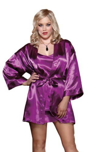 Dreamgirl Women's Plus-Size Charmeuse Chemise and Robe Set, Orchid, 1X-2X