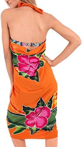 LA LEELA Lisse Couvrent Rayonne Enveloppement d'hibiscus Femmes Nager Sarong 78x43 Pouces d'Citrouille Orange
