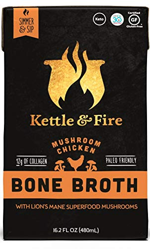 2 Mushroom Chicken Bone Broth- Collagen & Gelatin Rich Bonebroth for Ketogenic Diet or Paleo Keto Snack w Lions Mane & 10g Protein. Gluten Free Gut & Digestive Friendly Nutrition from Ancient Source