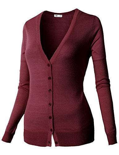 H2H Women's Regular Fit Long Sleeve Deep V-Neck Cardigan With Button Details Wine US S/Asia S (CWOCAL067)