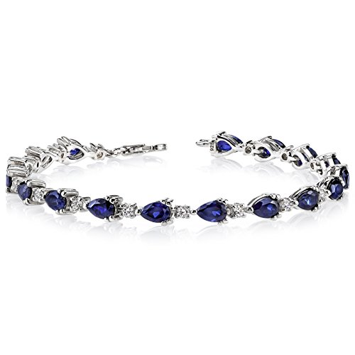 Created Sapphire Bracelet Sterling Silver Rhodium Nickel Finish Pear Shape