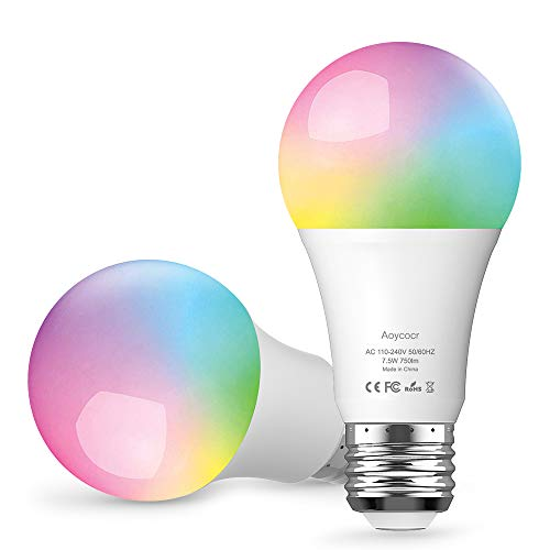 Aoycocr Smart Bulb, Dimmable E26 LED Light Bulb Compatible with Amazon Alexa Google Home Assistant and IFTTT, No Hub Require, Wi-Fi, 75W Equivalent, A19 RGB Multicolor Bulb (7.5W), 2 Pack
