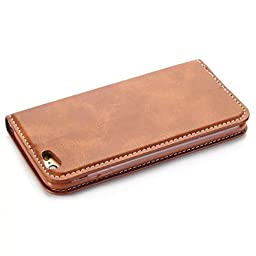 Moyooo iPhone 5/5s Wallet Case - Ultra Slim - Credit Card Holder -Magnetic Folio Flip Cover Case iPhone 5/5s (iPhone5s/5/5se, Brown)