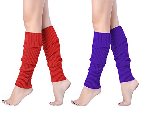 V28 Women Juniors 80s Eighty's Ribbed Leg Warmers for Party Sports (one size, 2 pack(Red+Brightpurple)) by v28