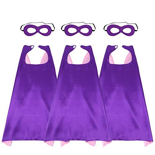 Breezeie 43'' Adults Super Hero Capes Masks Set Purple Pink Dual Color-Women Men'S Dress Up Party Costumes,X-Large,3 Pack -