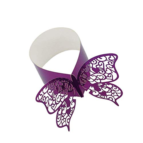 Hemore 50pcs Chic Butterfly Napkin Rings Replacement Hollow Cut Paper Napkin Buckles for Wedding Banquet Table Serviette Purple