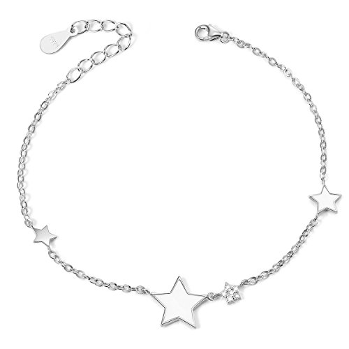 (SHEGRACE Lucky Star Bracelet Prime, Sterling Silver Star Charms Bracelets for Women, Platium )